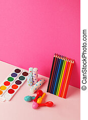 Set of office art school supplies on bright color modern background, education concept
