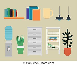 set of office books with lights and water purifier with file cabinet