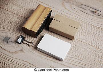 Set of office elements on the wooden background
