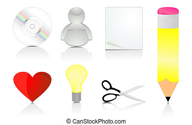 Set of office icons. A vector illustration