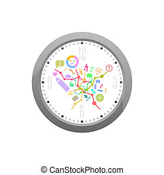 Set of office icons in flat design on original watch isolated on white