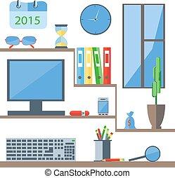 Set of office objects folder, monitor, watch, window, keyboard