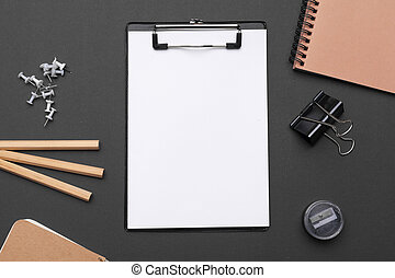 Set of office stationery and supplies, top view