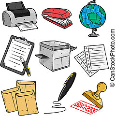 set of office stuff cartoon icon