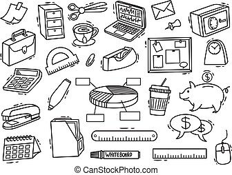 Set of office supplies doodle in white background
