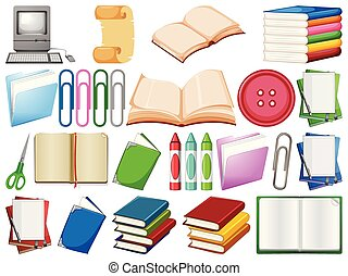 Set of office supplies illustration