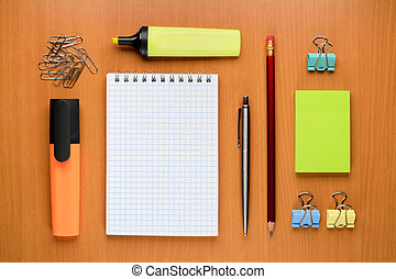 Set of office supplies on table