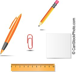 Set of office tools, pen, pencil, paper clip, ruler, paper on white background with shadows