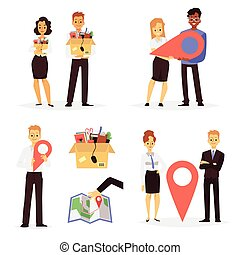 Set of cartoon characters of office workers moving to another location, flat vector illustration isolated on white background. Business relocation and office moving.