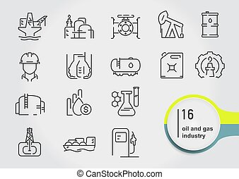 Set of oil and gas line icons. Petroleum industry vector illustration