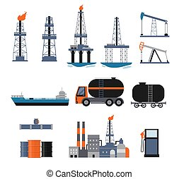 Set of oil industry facilities and machinery, flat vector illustration isolated.