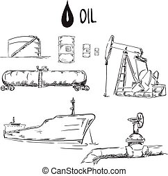 Set of oil industry objects vector illustration