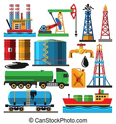 Set of oil industry production transportation extracting cartoon icons vector illustration. Energy processing platform. Petroleum industry technology design