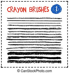 Set of oil pastel brush strokes