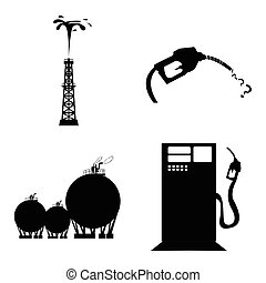 Set of oil related objects