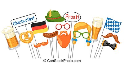 Set of Oktoberfest photo booth props. Accessories for...