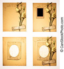 Set of old archival papers and vintage postcard with bouquet...