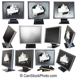 set of old black LCD monitors with broken screens