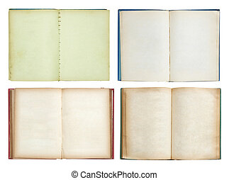 set of Old book open isolated on white background