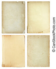 set of old book pages isolated on white background