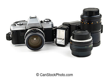 Set of old camera with two lenses and a flash camera...