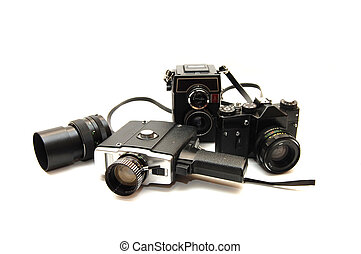Set of old cameras on a white background