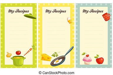 set of old fashioned recipe card , illustration set of old...