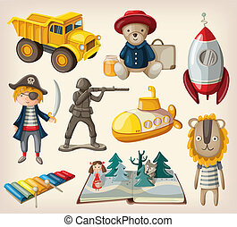 Set of old-fashioned toys for kids