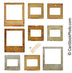 Set of old grunge slides with pin and  scotch