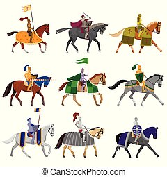Set of old medieval knights in helmet with different horses