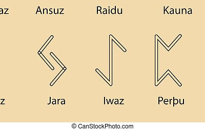 Set of Old Norse Scandinavian runes. Rune alphabet. Occult ancient symbols.