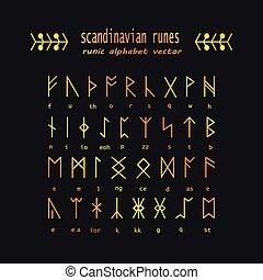 Rune alphabet. Occult ancient symbols.