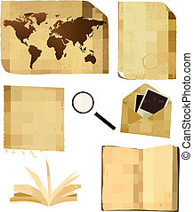 Set of old paper sheets and old map. Vector