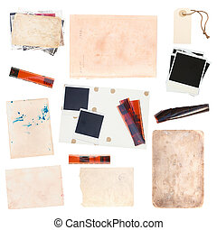 set of old paper sheets and vintage photos
