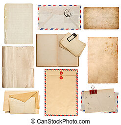 set of old paper sheets, book, envelope, card