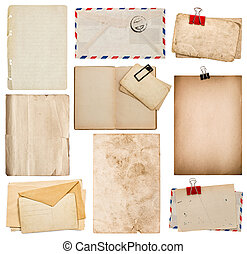 set of old paper sheets, book, envelope, cardboard
