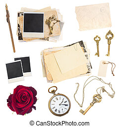 set of old paper sheets, photos, antique clock and keys