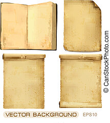 Set of old paper sheets. Vector