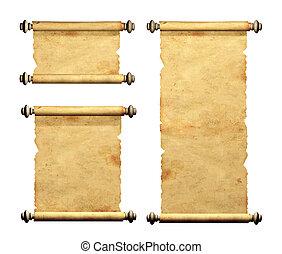 Set of old parchments