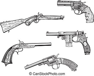Vector set of old revolvers and pistols. Skethes.