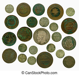 Set of old Russian coins. Obverse