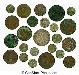 Set of old Russian coins. Reverse