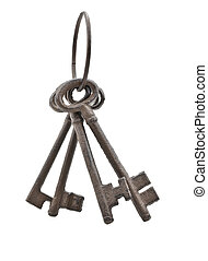 Set of old rusty antique keys over white background