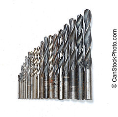 set of old rusty drill bits isolated in white