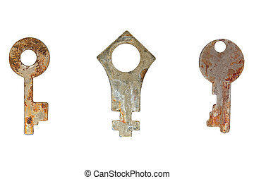 Set of old rusty keys.