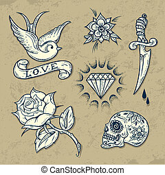 Set of Old School Tattoo Elements with roses and diamonds