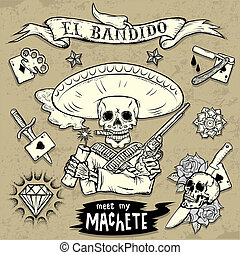 Set of Old School Tattoo Elements with skulls