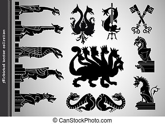 Set of old style medieval icons and