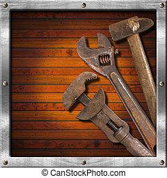 Set of Old Tools on Wood Panel