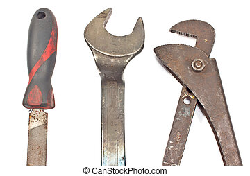 Set of old tools - rasp, spanner, wrench isolated on white